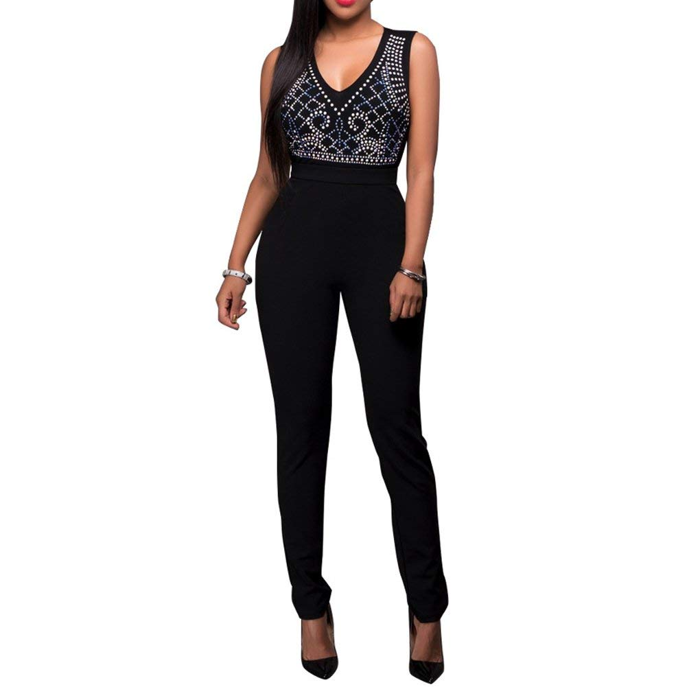632f46b9937 Get Quotations · Bodycon4U Women s Sexy V Neck Mesh See Through Rhinestone  Bodycon Jumpsuit Romper