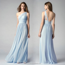 Elegante lange blau brautjungfer kleid