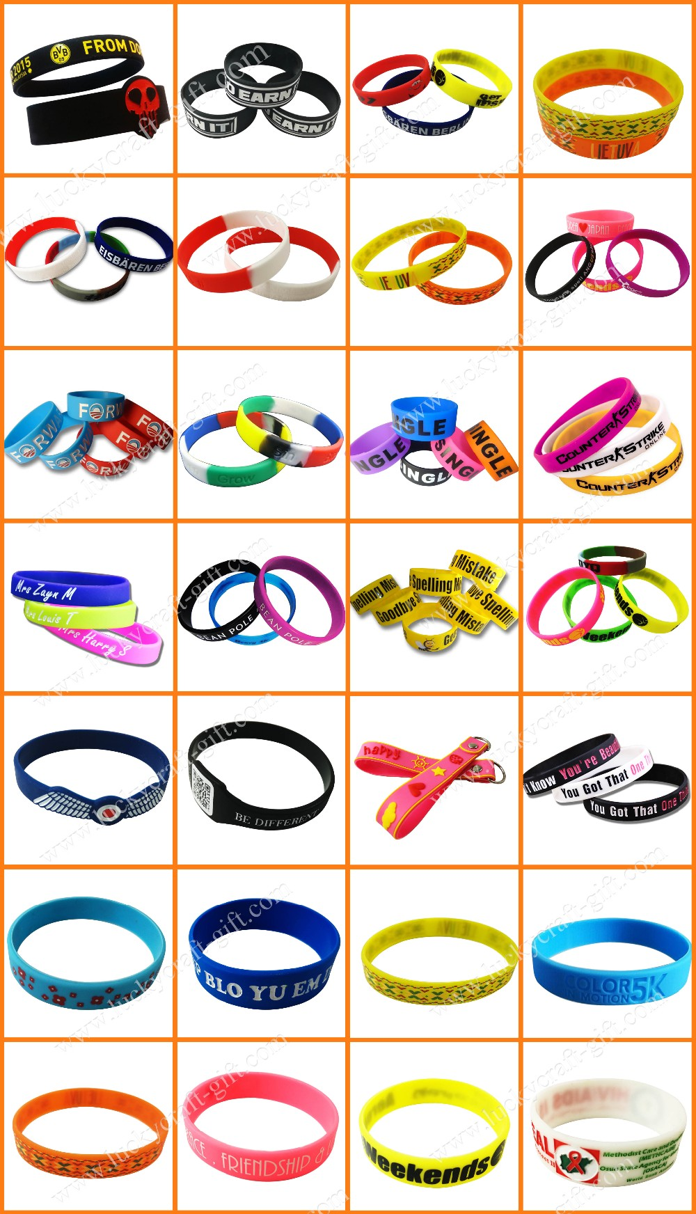 Custom logo silicone rubber wristbands bracelets cheap for men
