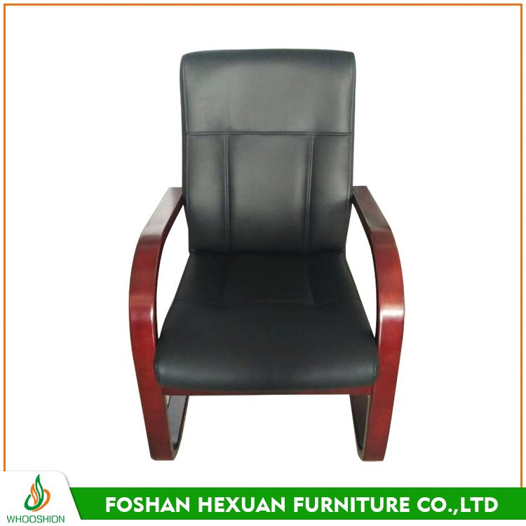 Long operating life oak wood meeting modern black leather chair