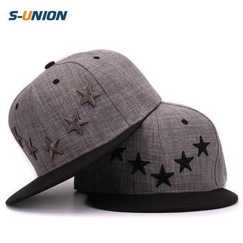 152dffddc38289 S-uion flat brim baseball caps 3D embroidery stars cap black grey hip hop  cap