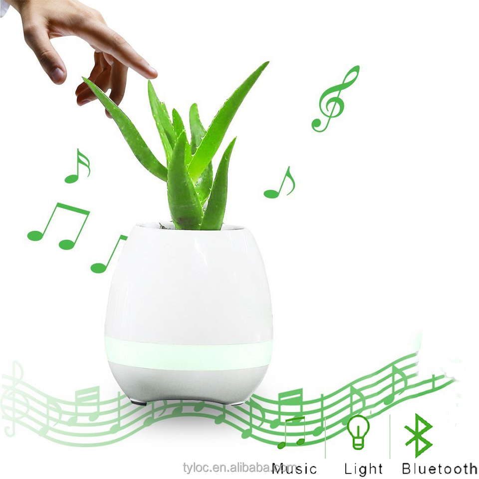 Bluetooth Music Flower Pot Speaker Touch Sensitive Plants Smart Piano Planters Pots with Night Lights