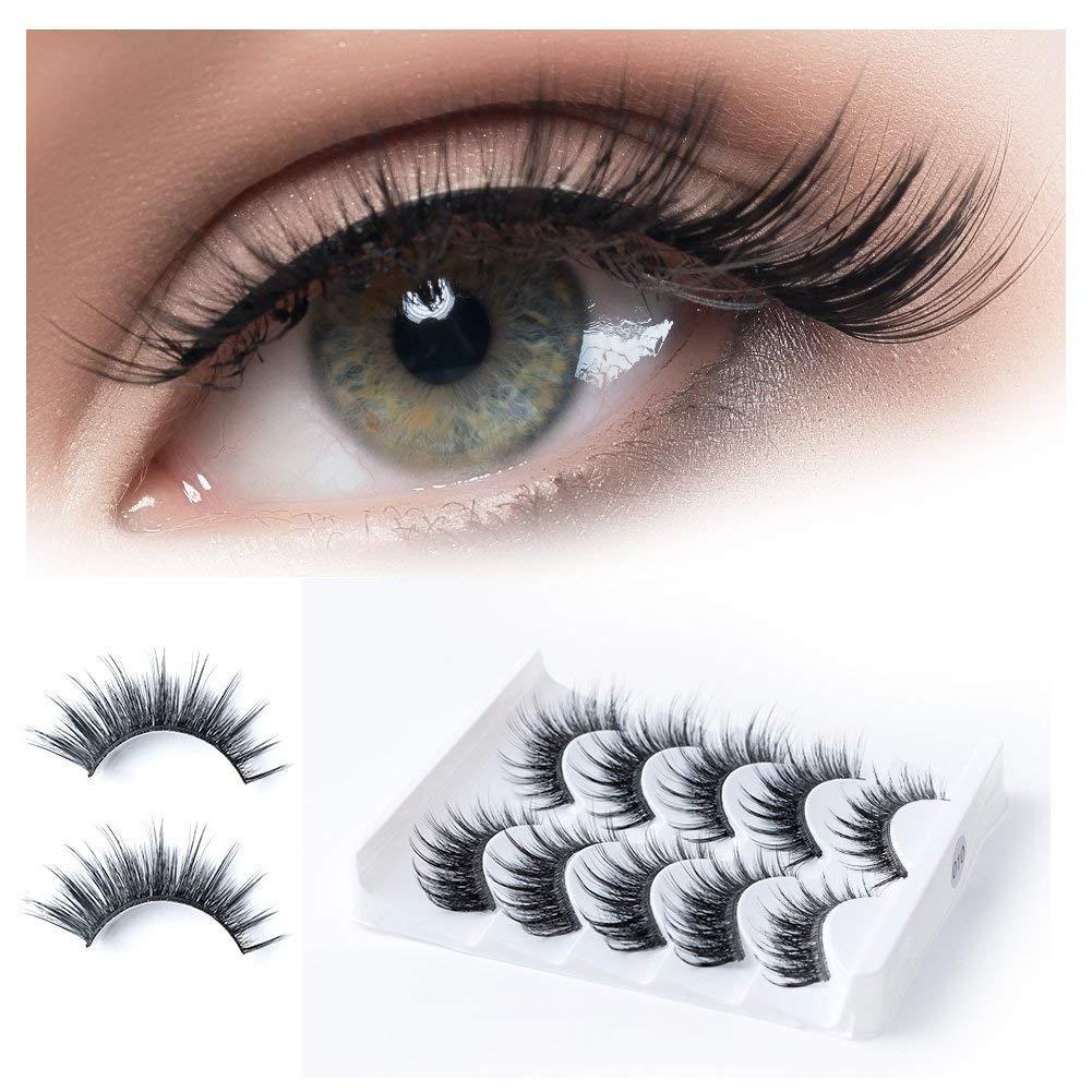3d277d036d6 Get Quotations · 5D 5 Pairs/Box False Eyelashes Extension Thick Long  Crisscross Fake Eyelashes Fiber Handmade Reusable