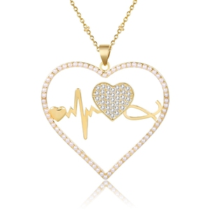 00948 xuping luxury heartbeat long necklace+fina jewelry insumos joyeria women al por mayor china collares finos de bisuteria
