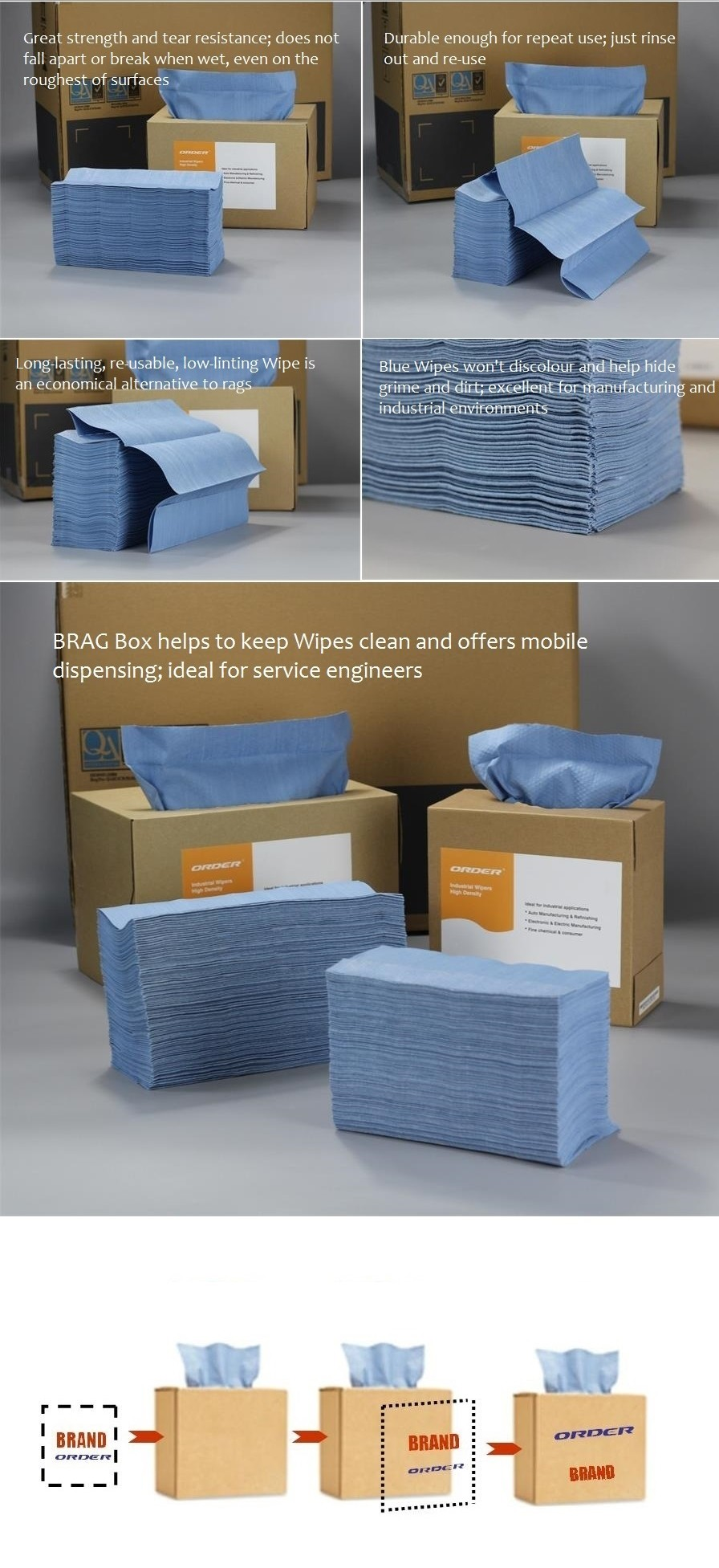 Full Sizes Brag-Up Box Nonwoven Cleaning Dry Wipes X-80
