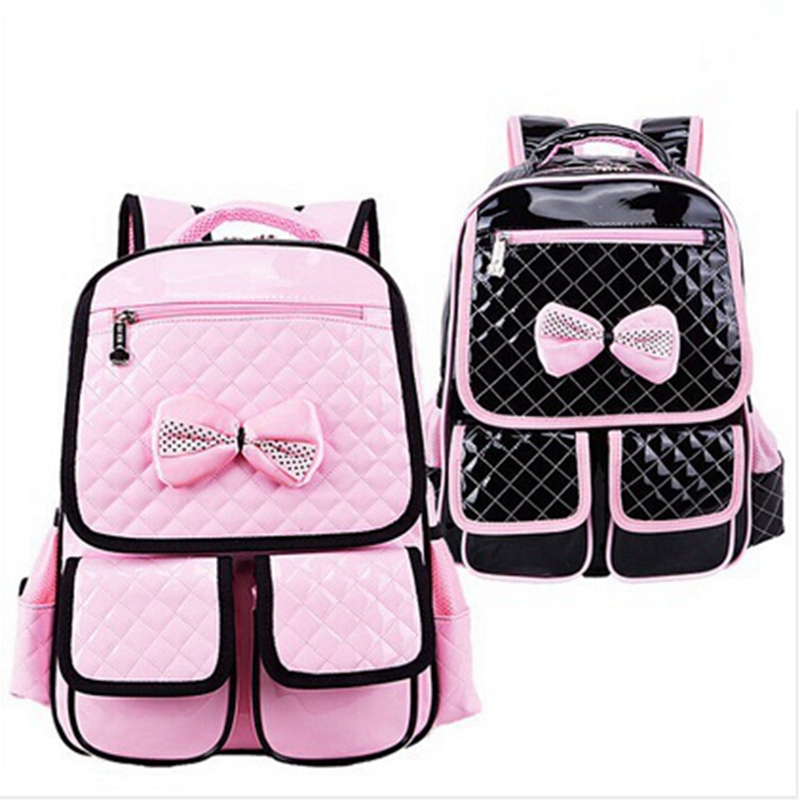 6ab3aae75578 Get Quotations · New 2015 Fashion School Backpacks Schoolbag For Primary  Girl PU Rosettle Children Shoulder School bags For