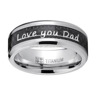 Father's Day Gift Love You Dad, Thank You Dad Titanium Ring Band With Carbon Fiber Inlay, Titanium Ring For Dad