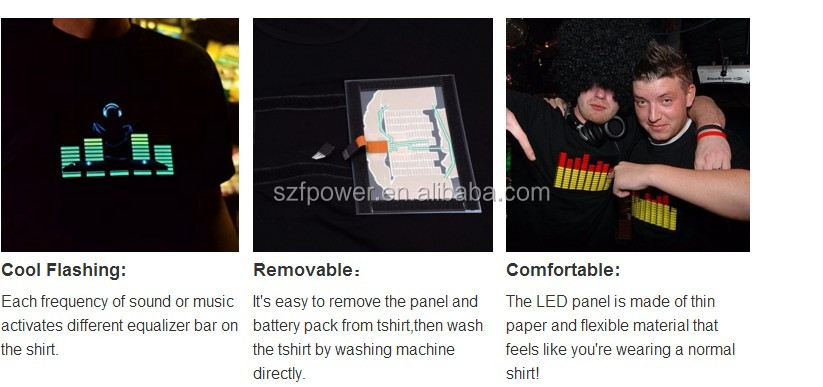 Electroluminiscente el flash up camiseta, camiseta led panel con 2aaa inversor
