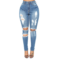 Custom Women Jeans Slim Denim Distressed Skinny Jeans