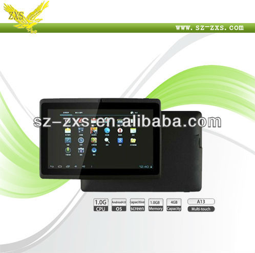 Zhixingsheng Q88 Allwinner A13 Android 4.0 MID 7 Inch Google Android Tablet PC Driver With 512MB/4GB