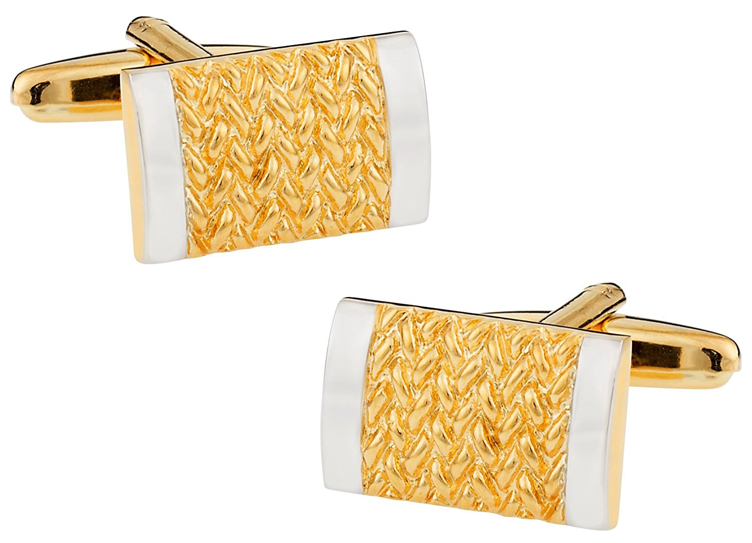 Cuff-Daddy Rich Two-Tone Gold and Silver Cufflinks with Presentation Box