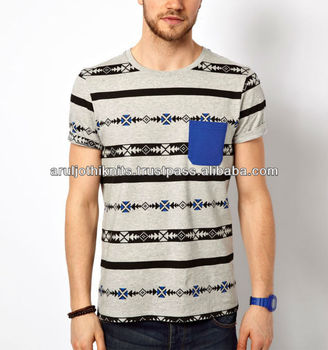 100 % Cotton Mens Allover Printed T Shirts With Contrast Pocket ...