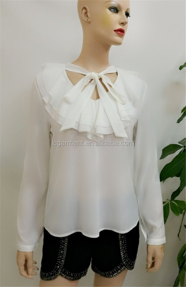 Women casual blouse designs 2017 chiffon white tops and blouse long sleeve ruffle indian clothing wholesale