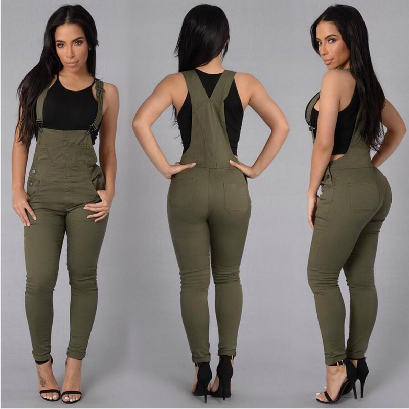 11c9c215e4c1 Detail Feedback Questions about Women Olive Green Denim Overalls ...