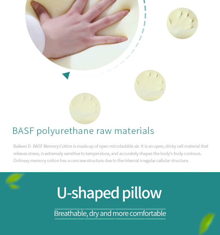 U Shaped Memory Foam Cervical Support Travel Neck Pillow for Car and Airplane