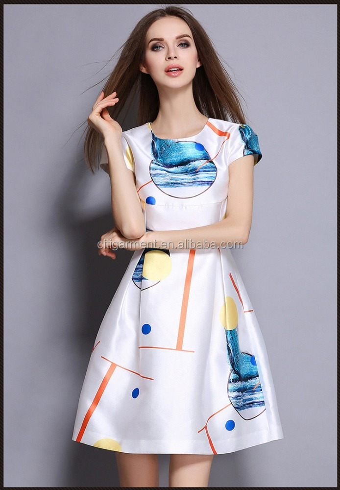 Free Shipping Hign Quality Ladies Custom Printing Slim Fit A-line White Dresses S-2XL