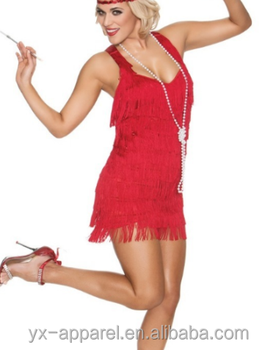 Red Lindy Lace Fler Dresses 1920s Fancy Dress