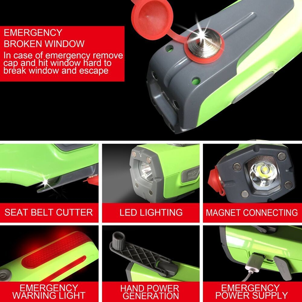 Auto Emergency Tool, 6-in-1 Multifunctional Car Safety Hammer with Window Breaker, Seatbelt Cutter, Led Flashlight, SOS Warning