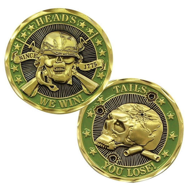 Souvenir custom military skull design old islamic gold plated coins