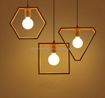 Wood Geometric Chandelier Ceiling Hanging Lamp Shades Art Decorative Pendant Lights Lighting Fixtures