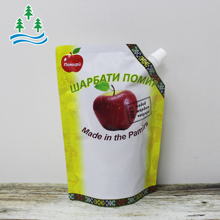 Customized  Liquid Stand up Spout Pouch Reusable Juice Drink Food Packaging Bag