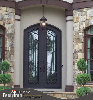 Modern House Entry Metal Double Doors With Exterior Arched