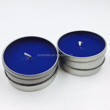 Classic home decorative small size blue color scented candle with tin can