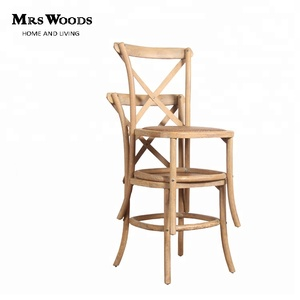 Good quality solid oak wood cross back wedding stackable dining chairs
