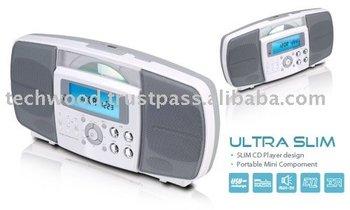 Cd955 Ultra Slim Vertical Cd Player With Am/fm Radio,Alarm Clock ...