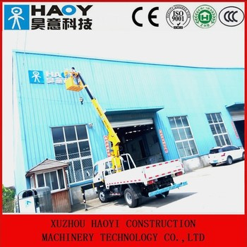 Truck Mounted Crane With Hanging Basket Remote Control Work ...