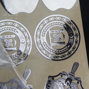 Customized 155*290mm Standard Size Metal Chrome Label ,Shine Glossy Gold Silver Metal sticker
