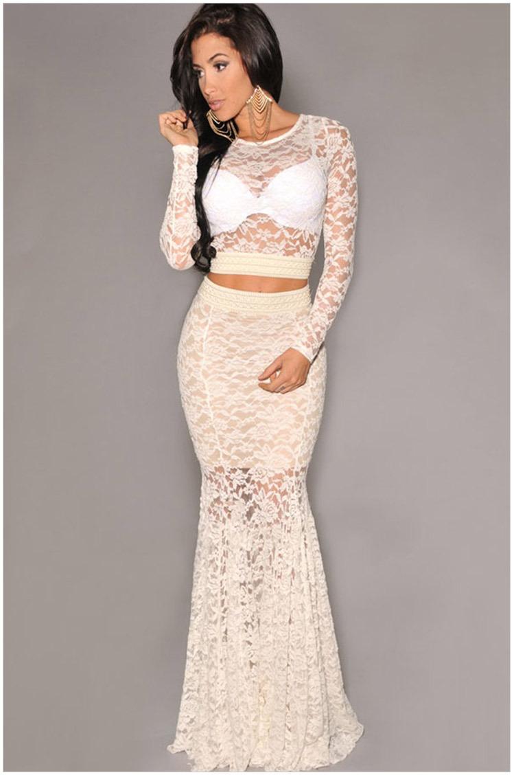 2492b29fe75 Vestidos de falda larga y blusa corta - Vestidos elegantes