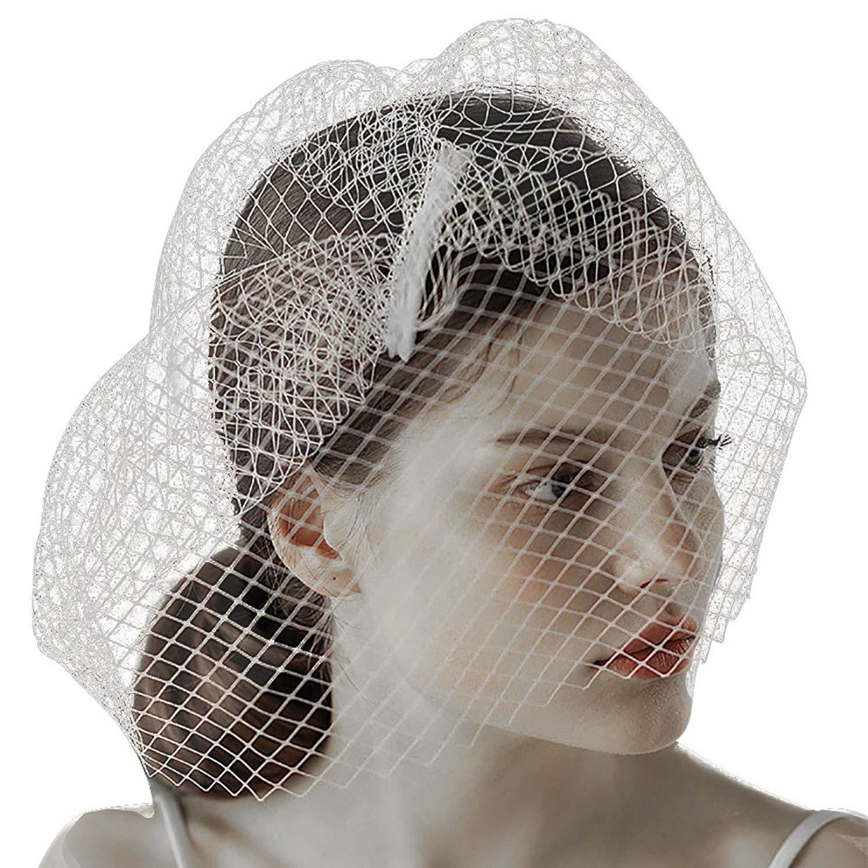 d0221f6353597 Get Quotations · Wedding Long Veil Vintage Beaded Flower Fascinator Hats  Flower Girl Bridal Veil Hat