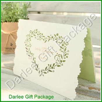Green Le Card Wedding Invitation Heart Shaped Cut Invitations