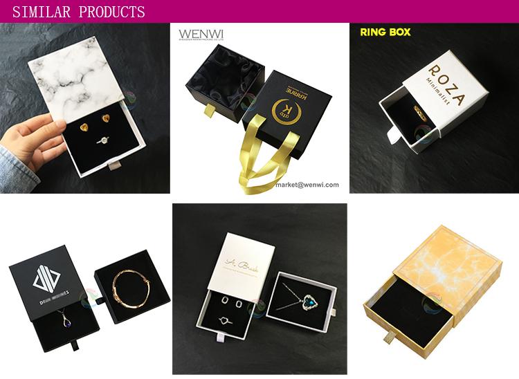 Di lusso Unico Nero Cassetto Lamina D'argento Personalizzato Logo Braccialetto Contenitori di Monili di Imballaggio