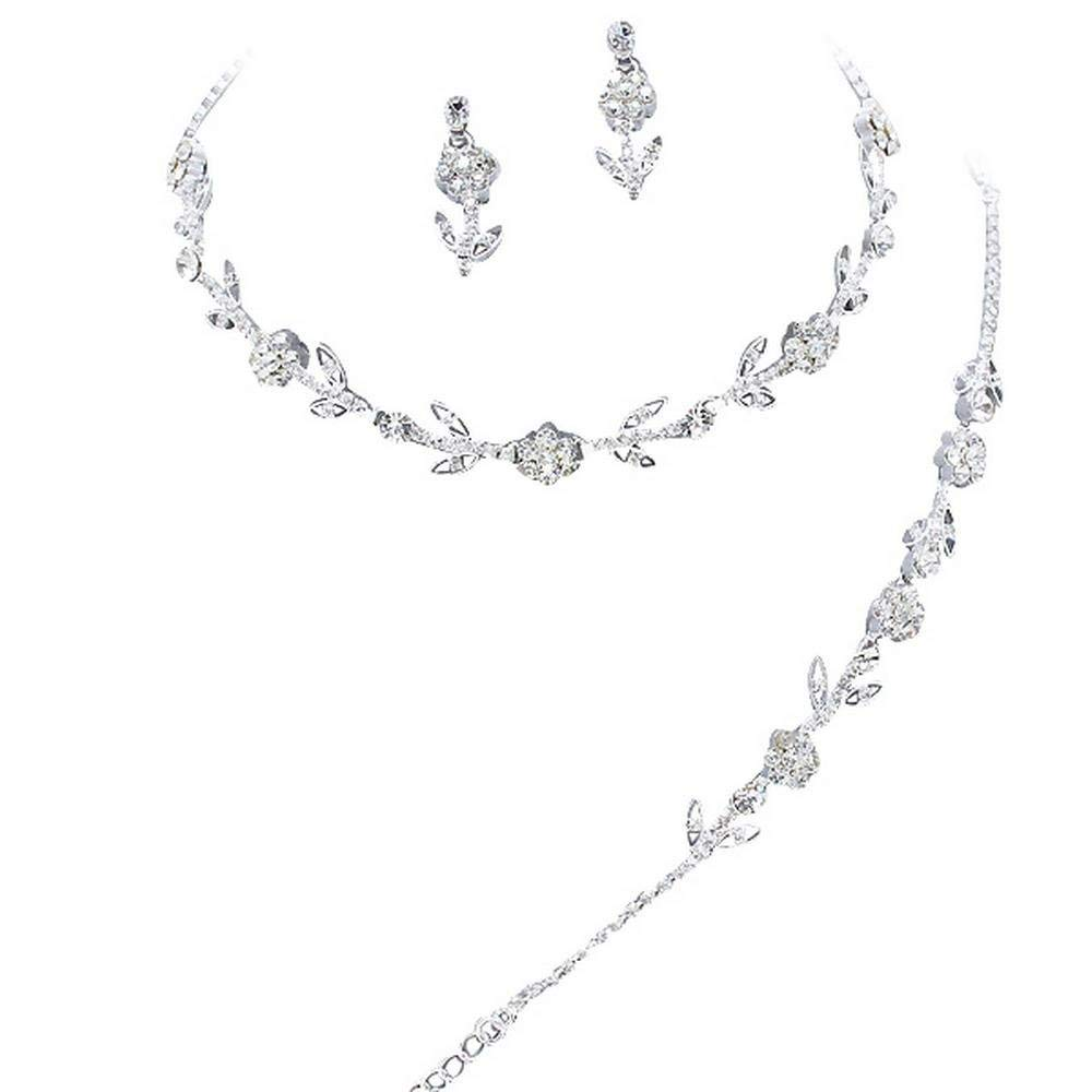 Affordable Crystal 3 Piece BRIDESMAID Bridal Necklace, Earring, Bracelet, Set L2
