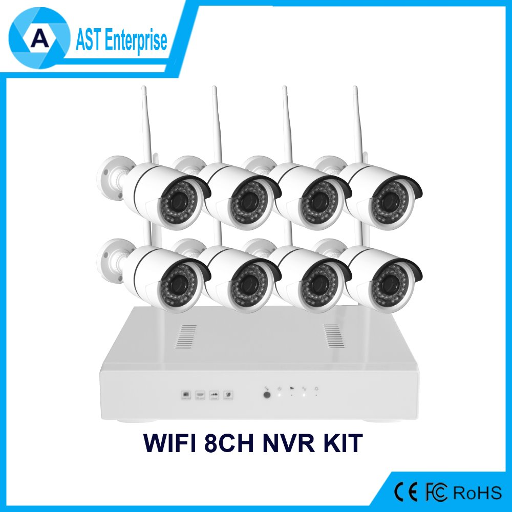 Wifi 8ch nvr kit, 4ch bullet ip camera nvr kit 2.0mp,1,3mp, 1.0mp 1080P full HD,960p, 720p 8 channel wireless nvr kit
