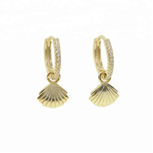 hot selling summer beach jewelry 925 cute sea shell charm dangle earring with cz circle hoop drop earrings for women