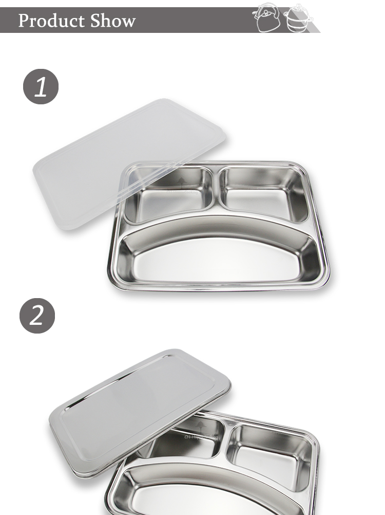 Stainless steel hospital food plate HC-00620-AD