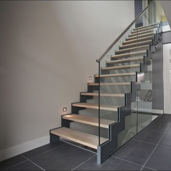 Prefab Steel Stair Stringers With Railings And Handrails Indoor Staircase  Designs