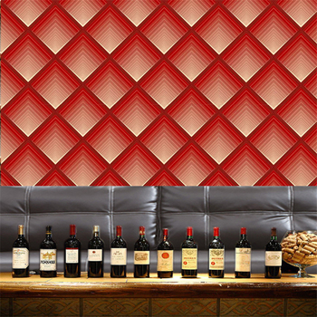 QZ163 KTV Wallpaper For Walls 3d Geometric Diamond Pattern Wine Red Coffee Gold Reflective Foil