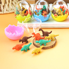 Creative colorful mini eraser sets 3d shaped pencil eraser stationery sets cartoon dinasour animal eraser sets for kids