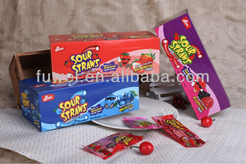 Sour Candy Straws Liquorice Sour Candy