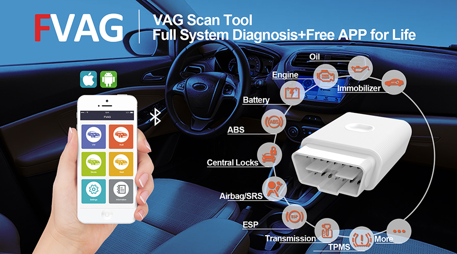 Bluetooth diagnostic scanner FCAR FVAG for audi vw skoda seat full-system diagnosis Android iOS ABS SRS engine OBD/EOBD