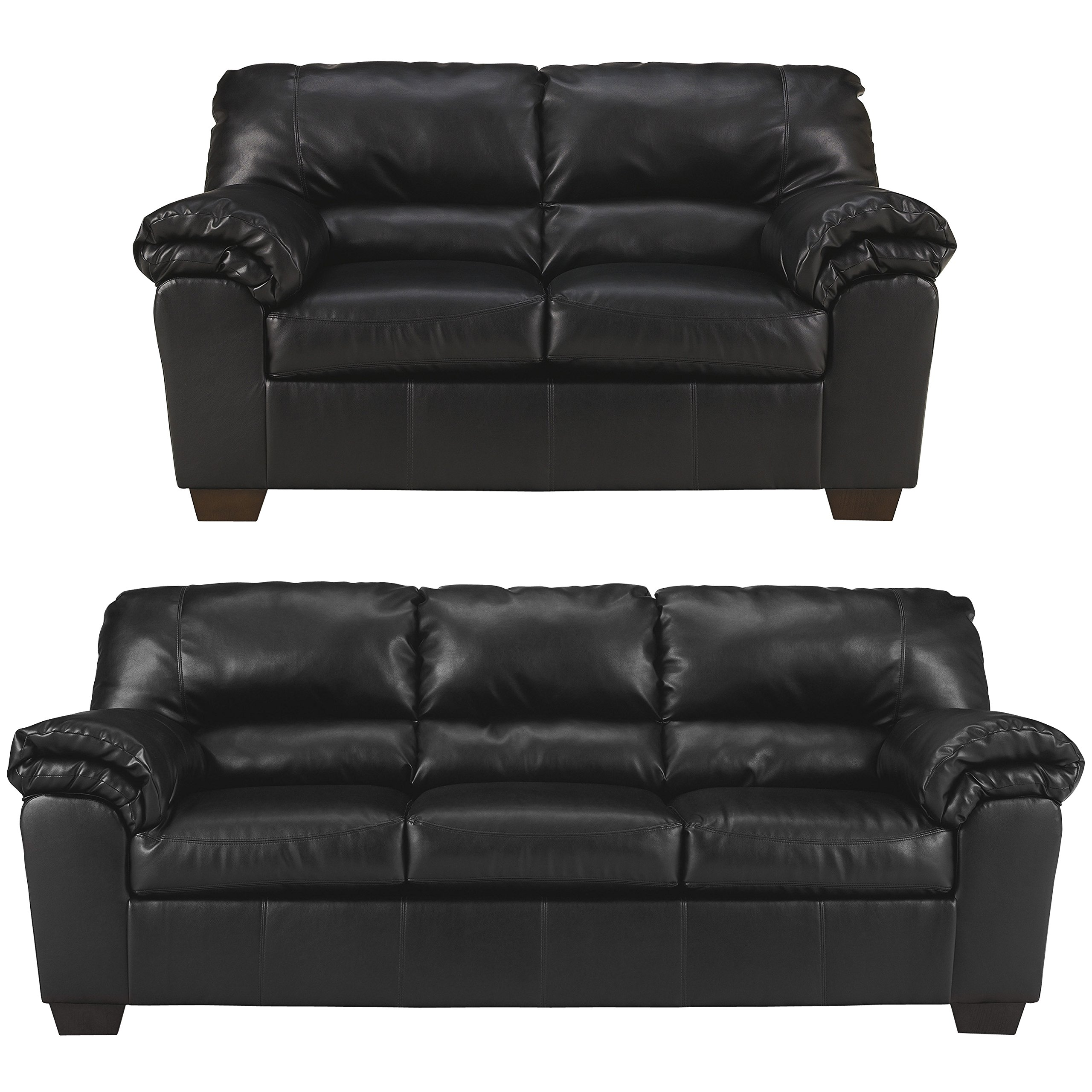 Get Quotations · Flash Furniture Signature Design By Ashley Commando Living  Room Set In Black Leather