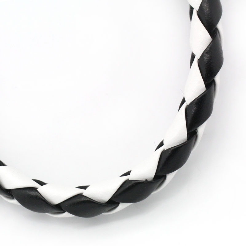 Braiding Cowhide Leather Jewelry Cord Black White 5mm Dia,10M,Bulk