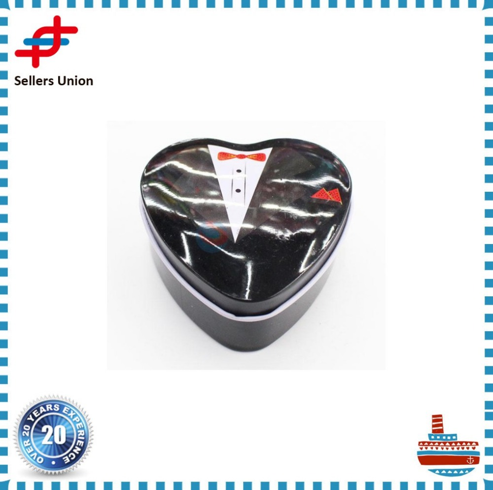 Heart shape metal tin box for wedding gift and candy box