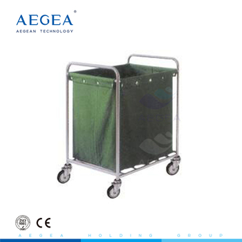 AG-SS013 one bag medical ward room movable hospital linen laundry trolley