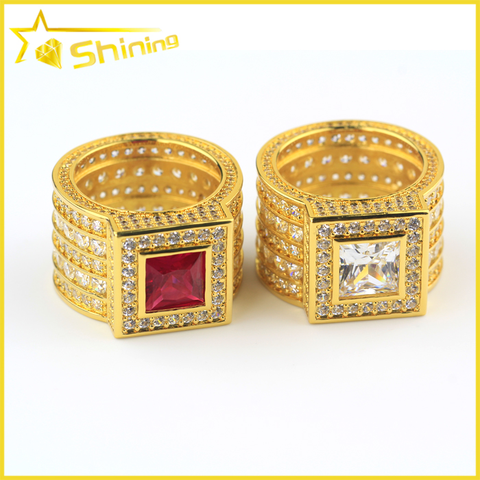 Men's Micro Pave Yellow Gold Plated Ruby Lab Diamond Iced Out Ring