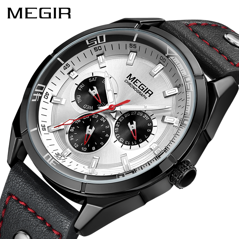 Genuine MEGIR quartz male watches Genuine Leather watches racing mens game Run Chronograph Watch male glow hands